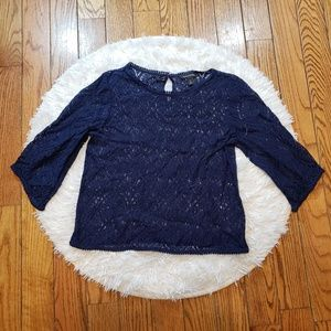 Banana Republic Blue Embroidered 3/4 Sleeve Blouse